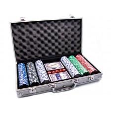 Набор для покера в алюминиевом кейсе, 300 фишек (с номиналом)